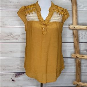 Sweet Wanderer Mustard Gold Lace Sleeveless Blouse